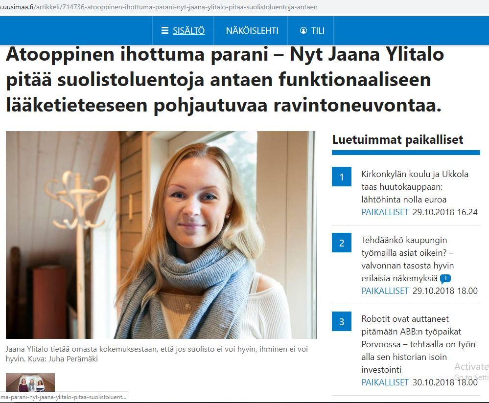 Uusimaa lehden artikkeli Porvoo
